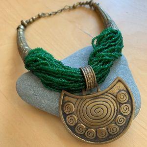 Emerald green goddess necklace
